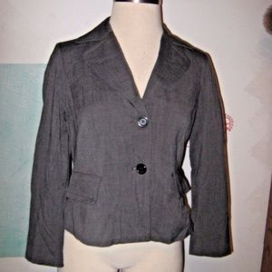 Gray Fitted Button Up 2 Faux Flap Pocket Blazer 12